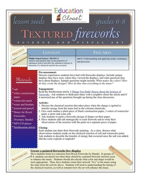 Education Closet – Textured Fireworks Lesson | Integrating Art and Science | Scoop.it