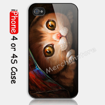 Lovely Cute Cat Custom iPhone 4 or 4S Case | Merchanstore - Accessories on ArtFire | Custom iPhone 4 or 4S Case Cover | Scoop.it