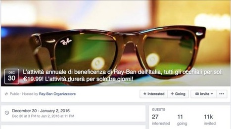 Facebook, torna il malware del finto evento benefico Ray-Ban | Social Media War | Scoop.it