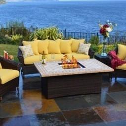 Outdoor Innovations Bellamar 6-Piece All Weather Wicker Fire-Conversation Furniture Set | Furniture Shoppy | Best Patio Furniture Sets | Scoop.it