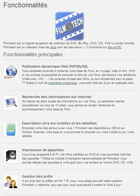 Filmotech - Fonctionnalités | 21st Century Tools for Teaching-People and Learners | Scoop.it