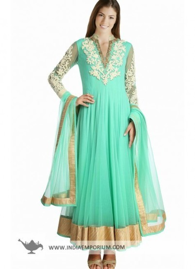 beautiful Sea Green Anarkali Salwar Kameez | I don't do fashion, I am fashion | Scoop.it