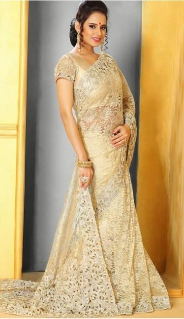 Cream Super Net Sari Blouse | fashionheena.com | Scoop.it