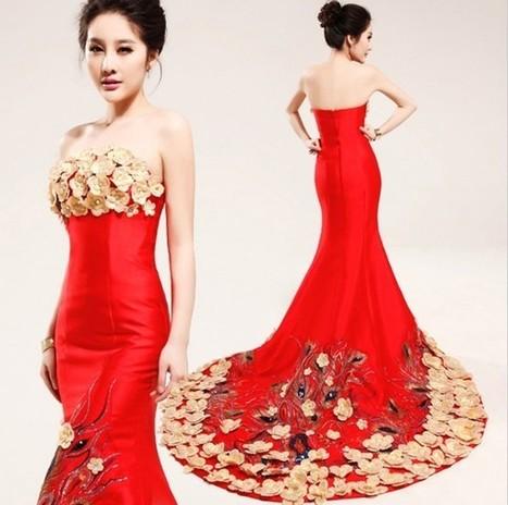 Red Mermaid Strapless Cheongsam Formal Evening Dress with Handmade Flower | Cheongsam | Scoop.it