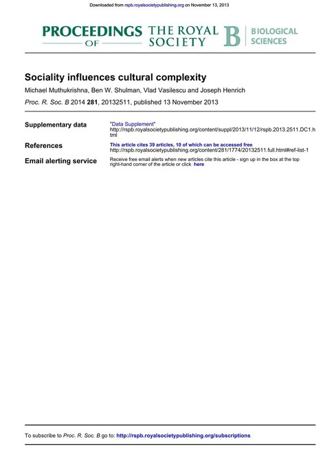 Sociality influences cultural complexity | Complex Networks Everywhere | Scoop.it