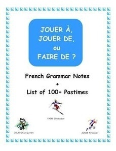 French Grammar - JOUER À, JOUER DE, FAIRE DE with 100+ Pastimes | French Resources to Download and Print | Scoop.it