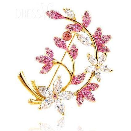 Fantastic Leaves Alloy with Zircon Fashion Brooch Pins | Dressve fashion | Scoop.it