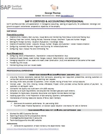 sle sap resume format easy resume