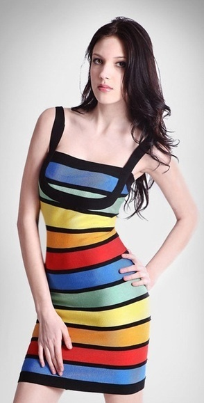 Chic Rainbow Herve Leger Strap Tight Dress | Women's Dresses | Scoop.it