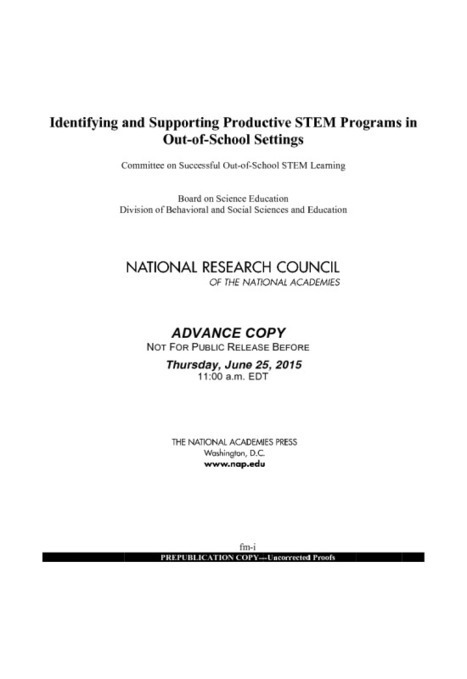 Identifying and Supporting Productive STEM Programs in Out-of-School Settings | STEM Connections | Scoop.it