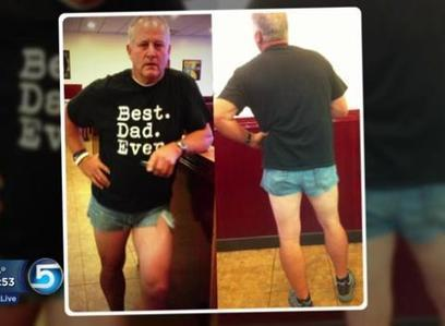 "Dad dons ""Daisy Dukes"" to teach daughter lesson 
