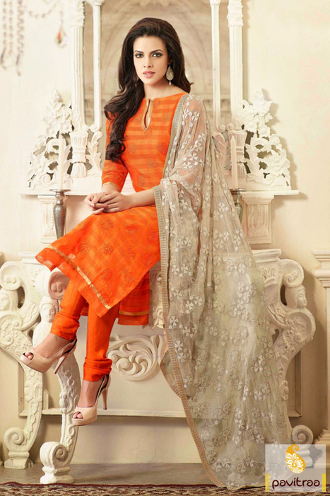 Orange Beige Party Wear Salwar Suit   Pavitraa   Scoop.it