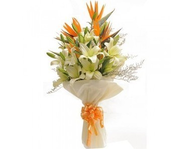 Lilies With Bop | 12 Red Roses N 2kg Fruit Basket | Scoop.it