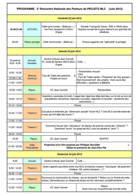 Le programme de la 5ème rencontre | Monnaies locales complémentaires (MLC) | Monnaies En Débat | Scoop.it