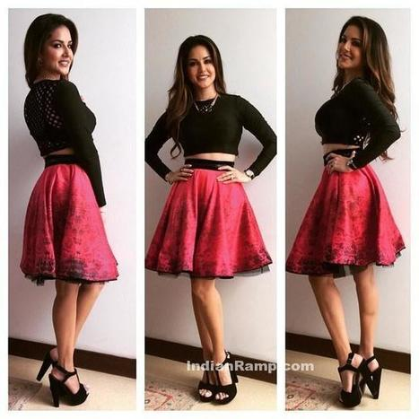 Sunny Leone in Archana Kochha'rs Printed Flare Skirt, Actress, Bollywood, Indian Fashion, Western Dresses | Indian Fashion Updates | Scoop.it