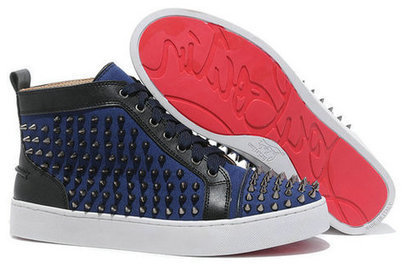 Navy Blue Christian Louboutin Sneakers Black Spike Red Sole For Sale [10031] - $136.00 : Cool Louboutins, Christian Louboutin Shoes Cool ,Cool Spiked Pump | Fashion shoes | Scoop.it