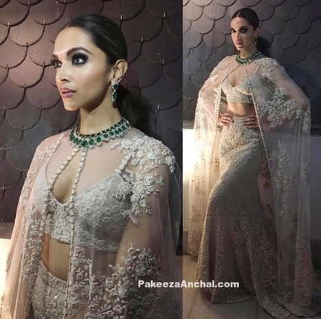 Deepika Padukone in White Sabaysachi Gown and Netted Cape | Indian Fashion Updates | Scoop.it
