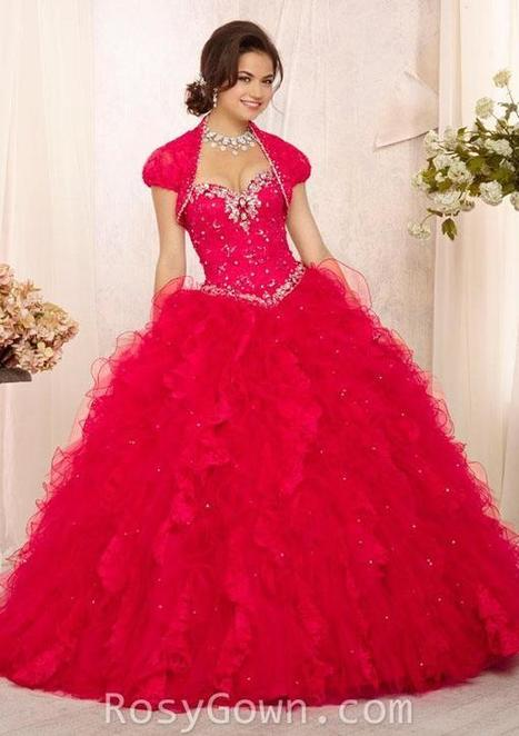 Crystal Beaded Lace and Tulle Strapless Red Ruffled Quinceanera Dress | Cheap Prom Dresses | Scoop.it