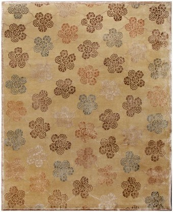 Tibetan Rug Floral Wool & Silk Beige 19210 8x10 | Moroccan rugs | Scoop.it
