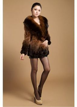 Women's Furs :: Fur Coats :: Rabbit :: Rex Rabbit Fur Coat With Fox Fur Shawl Collar - | furs | Scoop.it
