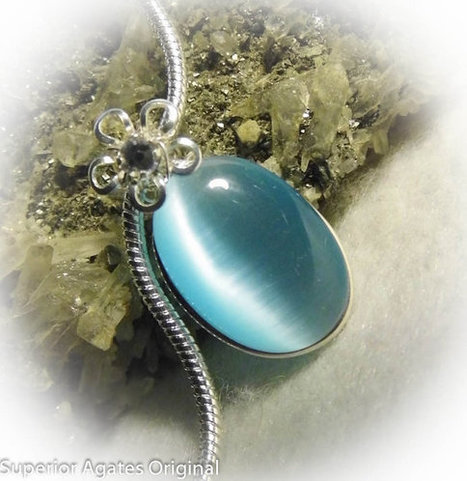 Aqua Blue Cats Eye Silver Wire Wrapped Girls Necklace | Blarney_Stone Antiques and Collectibles | Scoop.it