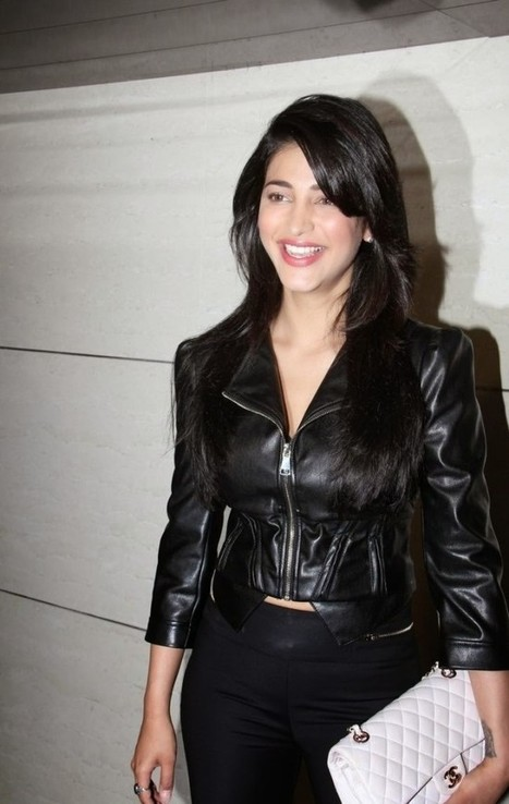 Shruti Hasan in Black leather Jacket and Tight pants, Latest Trendy style for Girls IndianRamp.com, Actress, Tollywood, Western Dresses | Indian Fashion Updates | Scoop.it