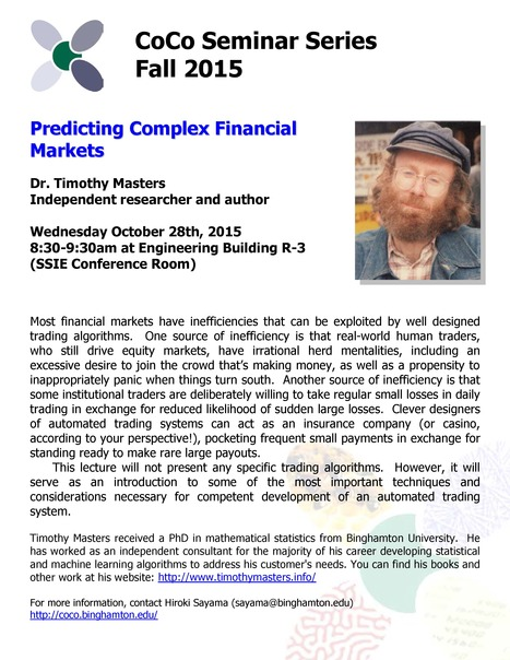 Next CoCo seminar by Tim Masters on Wed. October 28th | Center for Collective Dynamics of Complex Systems (CoCo) | Scoop.it
