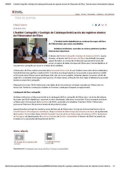 L'Institut Cartogràfic i Geològic de Catalunya tindrà accés als registres sísmics de l'Observatori de l'Ebre.   Roquetes   Scoop.it