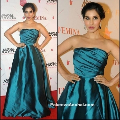 Sophie Choudry in Teal blue Off Shoulder Gown by Gauri and Nainika | Indian Fashion Updates | Scoop.it