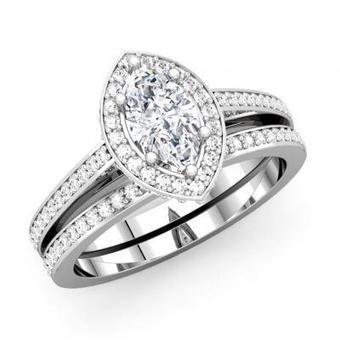 Marquise Diamond Channel Bridal Set | Wedding Ring | Scoop.it