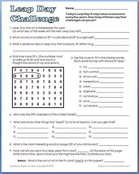 Leap Day Challenge | Seasonal Freebies for Teachers | Scoop.it