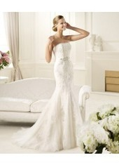 Trumpet Mermaid Strapless Brush Train Ivory Wedding Dresses H5pn0142 for $1,096 | beautyful | Scoop.it