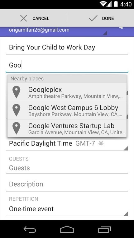 Save time with Maps autocomplete in Google Calendar on Android<br/><br/>Since December, you've been able to ... [Gmail on G+]   Google Product News   Scoop.it