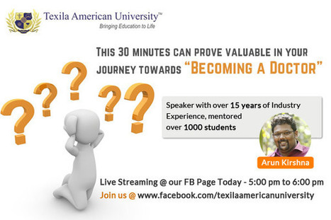 An Eye-Opener for Your Doctor Dream – Meet our Academic Expert Through Facebook Live Streaming | Texila Health plus | Scoop.it