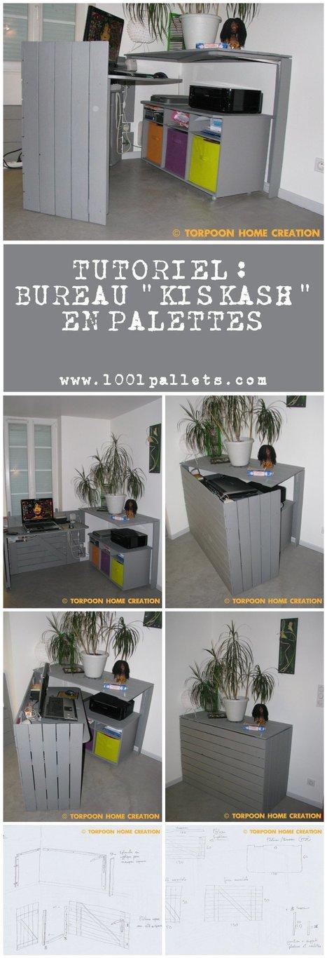 Tutoriel: Bureau Kiskash En Palettes (Pdf)   1001 Pallets ideas !   Scoop.it