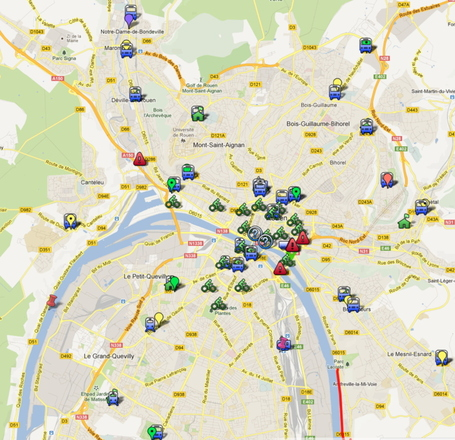 CREA P+R, Cyclor, abri-vélo | google #map Mathilde @solupont | Rouen | Scoop.it