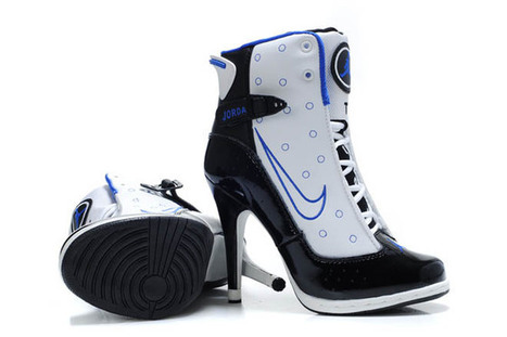 Women Air Jordan 13 High Heels Boots White Black Blue | my want collection | Scoop.it