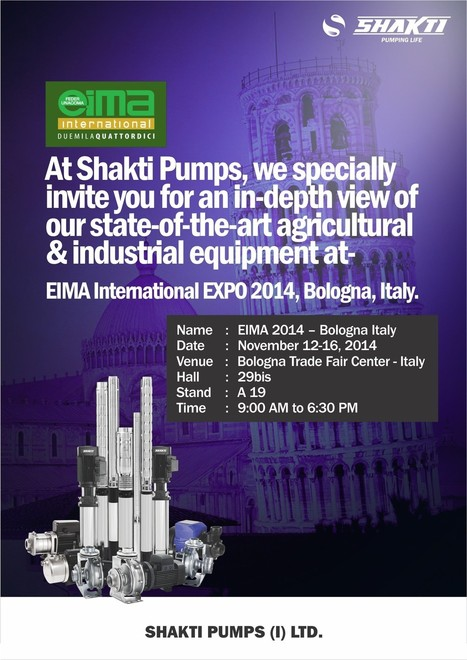EIMA International EXPO 2014, Bologna, Italy - Shakti Pumps | Water Pumps Manufacturers | Scoop.it