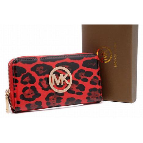 Michael Kors Mk Wallet Leopard Grain Red Womens | popular collection | Scoop.it