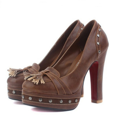 Wholesale Fashion pumps vintage round toe rivets shoes CZ-2772 brown - Lovely Fashion | Chic summer streetstyle(sandals) | Scoop.it
