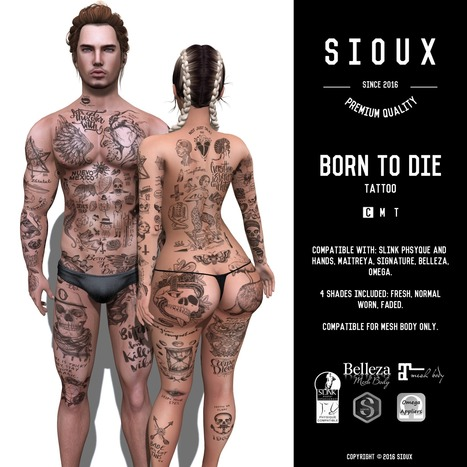 SIOUX – BORN TO DIE TATTOO | 亗  Second Life Fashion Addict  亗 | Scoop.it