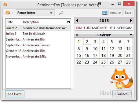 ReminderFox - affiche et gère la liste de vos tâches, de vos rendez-vous   Chroniques libelluliennes   Scoop.it