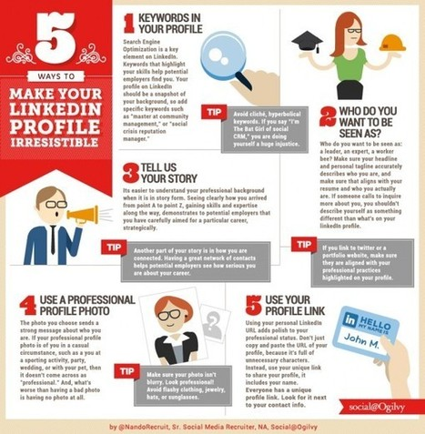 5 Tips to Make Your LinkedIn Profile Irresistible [INFOGRAPHIC] | LinkedIn Stats, Strategies + Tips | Scoop.it
