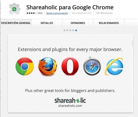 Shareaholic para Google Chrome | Infografía. Google Chrome y sus extensiones en la Educación | Scoop.it