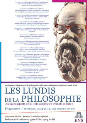 Les lundis de la philosophie  : Quelques aspects de la « philosophie en train de se faire » | Philosophie en France | Scoop.it