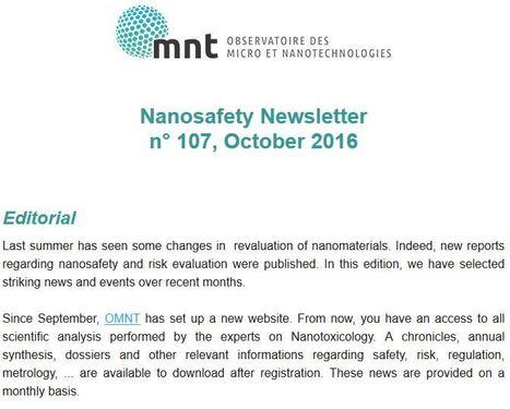 Octobre 2016 - OMNT : Nanosafety Newsletter<br/>n&deg; 107   Les actus nano rep&eacute;r&eacute;es par Avicenn   Scoop.it