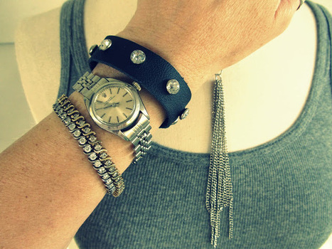 DIY Leather and Rhinestone Bracelet Tutorial | Fashion, Jewelry and DIYs | Scoop.it