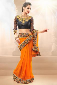 Admyrin - Orange Georgette Saree Containing Embroidered Border work with Black Blouse Piece | Indian Salwar Kameez Online | Scoop.it