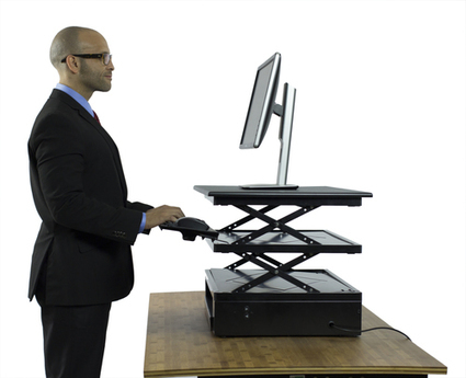 Electric CHANGEdesk - Height Adjustable Standing Desk Conversion   Adjustable Ergonomic Stand Up Desk   Scoop.it