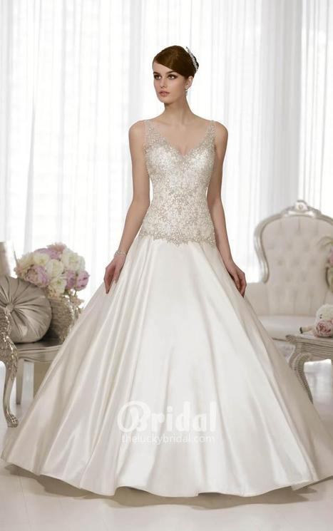Sleeveless V-neck Sweep Train Wedding Gown with Beaded Bodice   Little White Bridesmaid Dresses 2014   Scoop.it